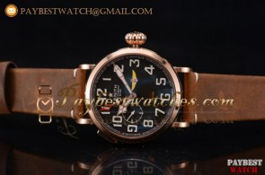 Zenith Pilot Type 20 GMT 03.2430.693/21.C726 Black Dial Brown Leather Rose Gold Watch