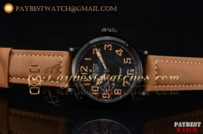 Zenith Pilot Type 20 GMT 96.2431.693/21.c738 Black Dial Brown Leather PVD Watch
