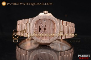 Patek Philippe Jumbo Nautilus 5719/1G 002 Diamonds Dial Full Rose Gold/Diamonds Watch