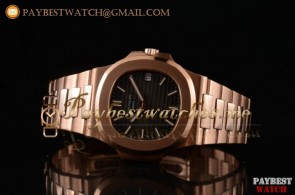 Patek Philippe Nautilus 5711/1R-003 Black Dial Full 18K Rose Gold Watch (BP)