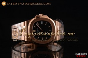 Patek Philippe Nautilus 5711/1R-002 Black Dial Full 18K Rose Gold Watch (BP)