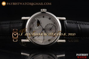 Breguet Classique Power Reserve 7137bb/11/9v6 Silver Dial Black Leather Steel Watch