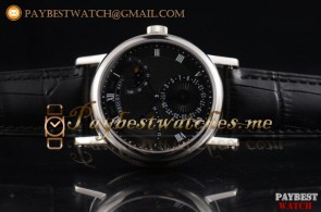 Breguet Classique Power Reserve 7137bb/11/9v7 Black Dial Black Leather Steel Watch