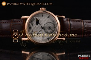 Breguet Classique Power Reserve 7137bb/11/9v8 Silver Dial Brown Leather Rose Gold Watch