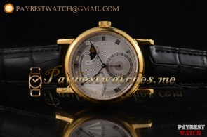 Breguet Classique Power Reserve 7137ba119v6 Silver Dial Black Leather Yellow Gold Watch