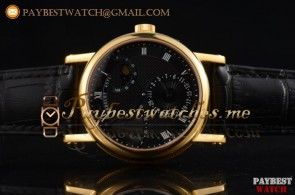 Breguet Classique Power Reserve 7137bb/11/9v10 Black Dial Black Leather Yellow Gold Watch