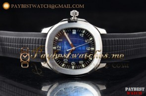 Patek Philippe Aquanaut Jumbo 5168G Blue Dial Black Rubber Steel Watch (BP)