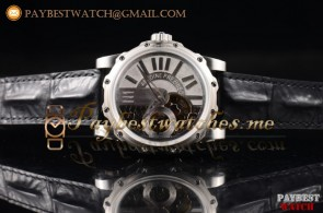 Antoine Preziuso Tourbillons Mega Tourbillon APT9052 Silver/Skeleton Dial Black Leather Steel Watch