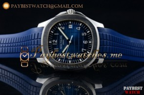 1:1 Patek Philippe Aquanaut Jumbo 5168G Blue Dial Blue Rubber Steel Watch (BP)