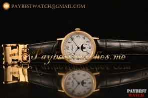 Breguet Classique 100-02-22-12-07 White Dial Black Leather Yellow Gold Watch