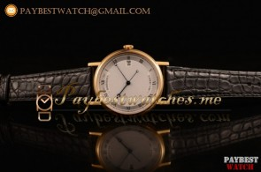 Breguet Classique 5177ba White Dial Black Leather Yellow Gold Watch (AAAF)