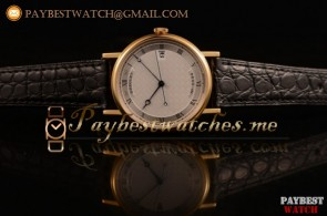 Breguet Classique 5157BAL White Dial Black Leather Yellow Gold Watch (AAAF)