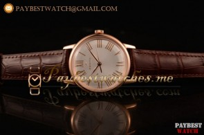 Zenith Vintage 4734923 White Dial Brown Leather Rose Gold Watch (AAAF)