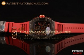 Richard Mille RM 11-02 Chronograph RM 11-02 Red Dial Red Rubber Strap Carbon Fiber Watch