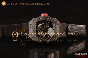 Richard Mille RM 055 Skeleton Dial Black Nylon/Leather Strap Carbon Fiber Watch