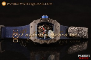 Richard Mille RM 055 Skeleton Dial Blue Nylon/Leather Strap Carbon Fiber Watch