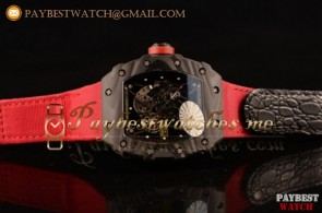 Richard Mille RM 055 Skeleton Dial Red Nylon/Leather Strap Carbon Fiber Watch