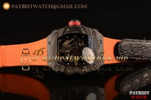 Richard Mille RM 055 Skeleton Dial Orange Nylon/Leather Strap Carbon Fiber Watch