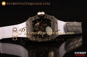 Richard Mille RM 055 Skeleton Dial White Nylon/Leather Strap Carbon Fiber Watch