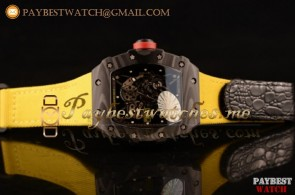 Richard Mille RM 055 Skeleton Dial Yellow Nylon/Leather Strap Carbon Fiber Watch