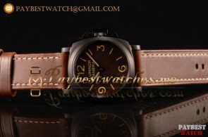 Panerai Luminor 1950 3 Days PAM00663B Brown Dial Brown Leather Strap PVD Watch