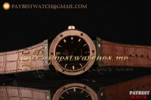 Hublot Classic Fusion 511.CM.7170.LRBR Black Dial Brown Leather Strap PVD/Rose Gold Watch