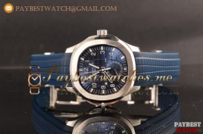 Patek Philippe Aquanaut Travel Time 5164A-002 Blue Dial Blue Rubber Strap Steel Watch