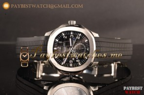 Patek Philippe Aquanaut Travel Time 5164A-001 Black Dial Black Rubber Strap Steel Watch 1:1 Original