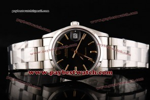Rolex Date 115200 bkio Black Dial Gold Stick Markers Steel Strap Steel Watch
