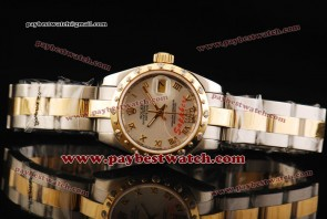 Rolex Datejust 31MM 178343 sdro Sliver Dial Yellow Gold Roman Numeral Markers Two Tone Strap Two Tone Watch