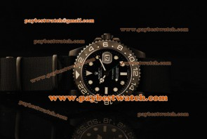 Rolex Pro-Hunter GMT-Master 116710 bkn Ceramic Bezel Black Dial Lume Dot Markers White Hands Black Nylon PVD Watch
