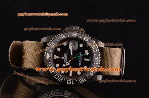 Rolex Pro-Hunter GMT-Master 116710 grn Ceramic Bezel Brown Dial Lume Dot Markers Brown Nylon Strap PVD Watch