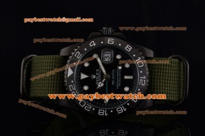 Rolex Pro-Hunter GMT-Master 116710LN Ceramic Bezel Black Dial White Lume Dot Markers Green Nylon Strap PVD Watch