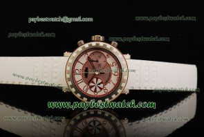 Dewitt Academia Chrono AC.6005.28B.M500W White Rubber Strap Rose Gold Watch