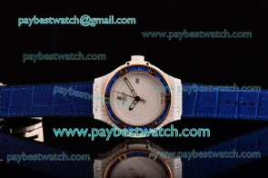 Hublot Big Bang Tutti Frutti Caviar 1:1 Original 346.PX.0880.LR.1901 White Dial Blue Diamond Bezel Blue Leather Strap Ceramic Watch