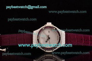 Hublot Big Bang Tutti Frutti Caviar 1:1 Original 346.HX.2800.LR.1901 White Dial Burgandy Diamond Bezek Burgandy Leather Strap Ceramic Watch