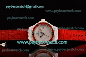 Hublot Big Bang Tutti Frutti Caviar 1:1 Original 346.PX.0880.LR.1902 White Dial Red Diamond Bezel Red Leather Strap Ceramic Watch