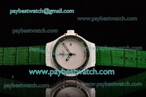 Hublot Big Bang Tutti Frutti Caviar 1:1 Original 346.HX.2800.LR.1902 White Dial Green Diamond Bezel Green Leather Strap Ceramic Watch