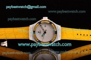 Hublot Big Bang Tutti Frutti Caviar 1:1 Original 346.HX.2800.LR.1903 White Dial Yellow Leather Strap Ceramic Watch