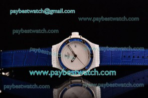 Hublot Big Bang Tutti Frutti Caviar 1:1 Original 346.HX.2800.LR.1904 White Dial Blue Leather Strap Ceramic Watch